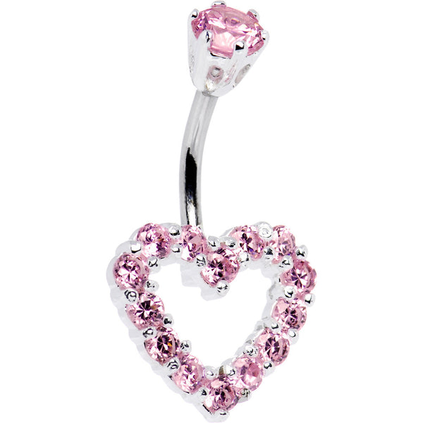 Sterling Silver 925 Pink Cubic Zirconia Timeless Heart Belly Ring