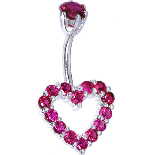 Sterling Silver 925 Siam Red Cubic Zirconia Timeless Heart Belly Ring