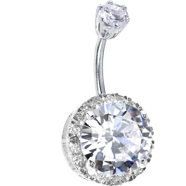 Sterling Silver 925 Clear Cubic Zirconia JEZEBEL Belly Ring
