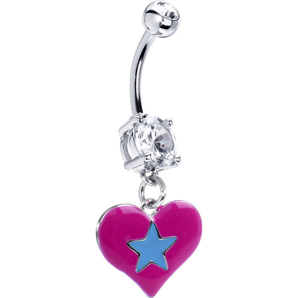 Pink-Blue Star Heart Belly Ring