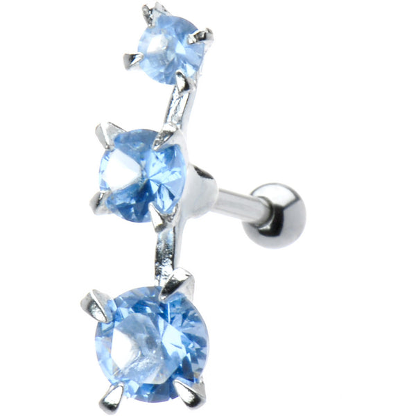 Sterling Silver 925 Aqua Cubic Zirconia Trio Left Cartilage Ear Piercing