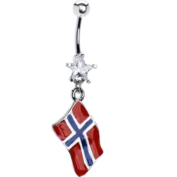 Norway Flag Dangle Belly Ring