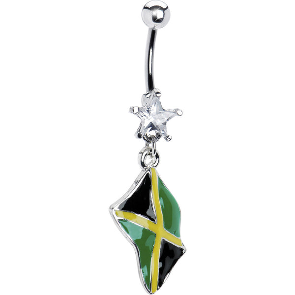 Jamaica Flag Dangle Belly Ring