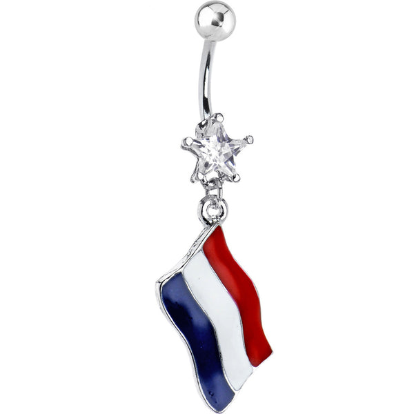 Holland Flag Dangle Belly Ring