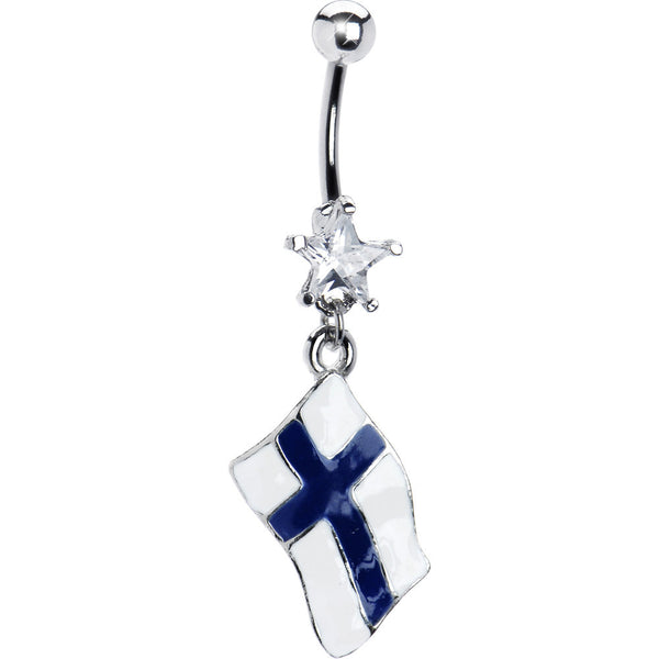 Finland Flag Dangle Belly Ring