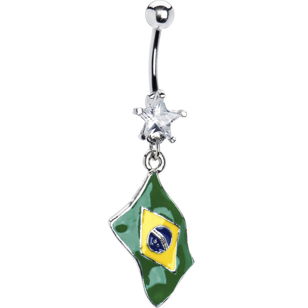 Brazil Flag Dangle Belly Ring