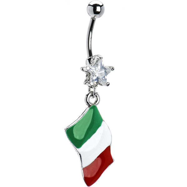 Italy Flag Dangle Belly Ring