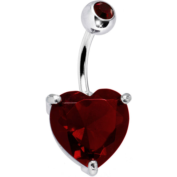 January 14mm Heart Solitaire Birthstone Belly Ring