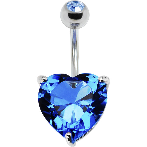 December 14mm Heart Solitaire Birthstone Belly Ring