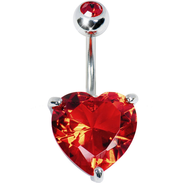July 14mm Heart Solitaire Birthstone Belly Ring