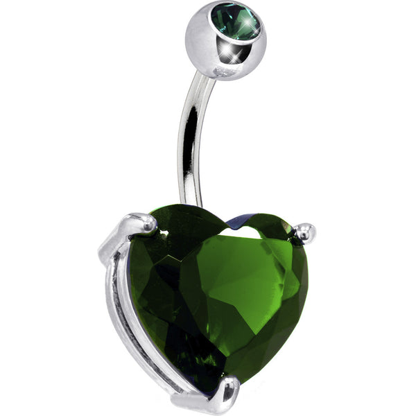 May 14mm Heart Solitaire Birthstone Belly Ring