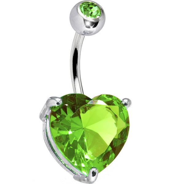 August 14mm Heart Solitaire Birthstone Belly Ring