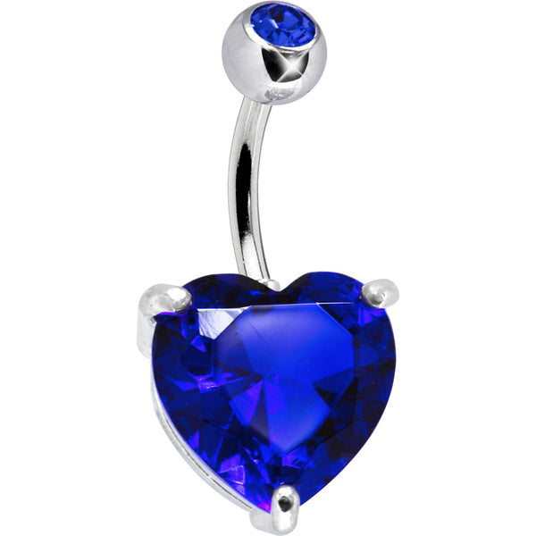 September 14mm Heart Solitaire Birthstone Belly Ring