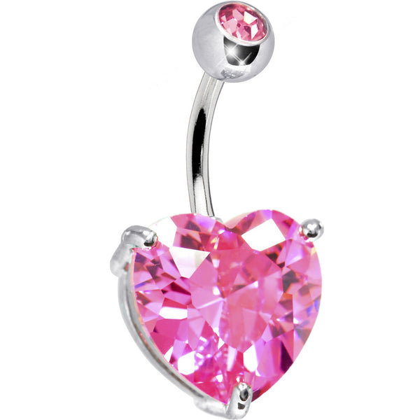 October 14mm Heart Solitaire Birthstone Belly Ring