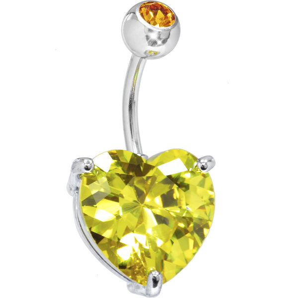 November 14mm Heart Solitaire Birthstone Belly Ring