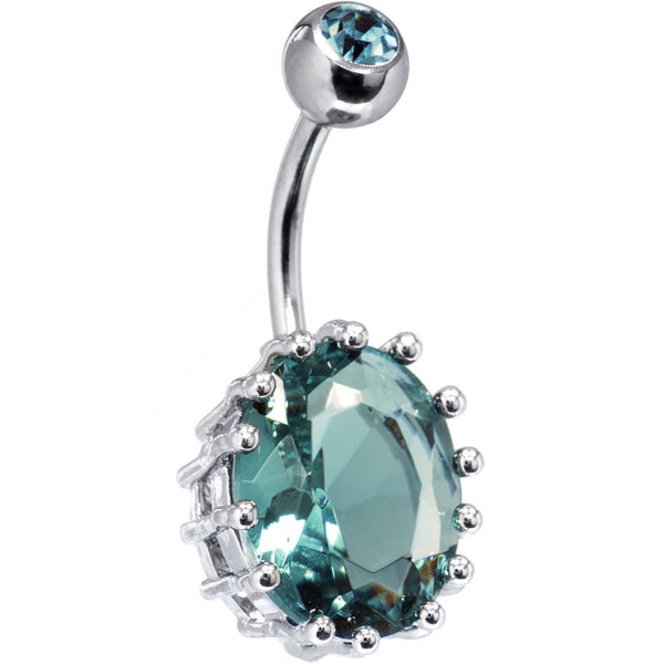 March 13mm Oval Solitaire Birthstone Belly Ring