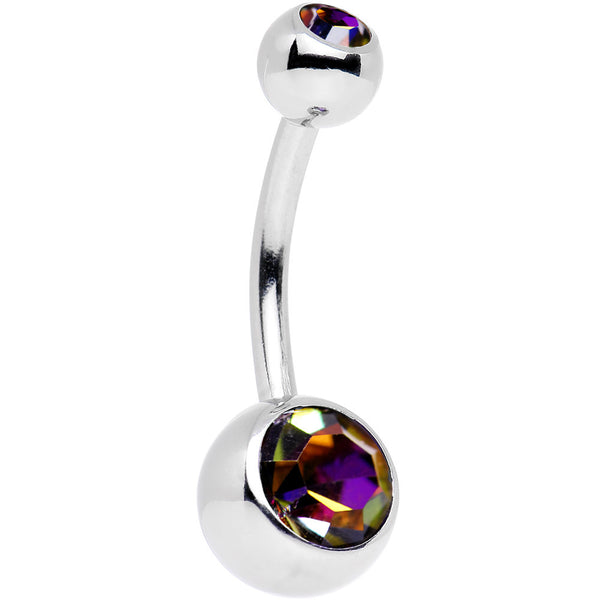 Crystal Volcano Double Gem Belly Ring Created with Swarovski Crystals