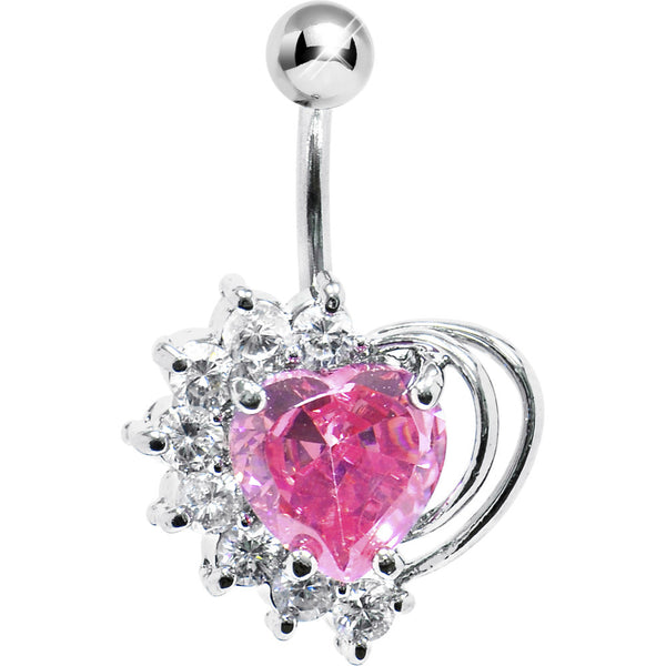 Pink Cubic Zirconia Stellar Heart Belly Ring