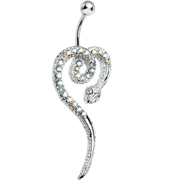 Aurora Gem Spiraling Snake Belly Ring