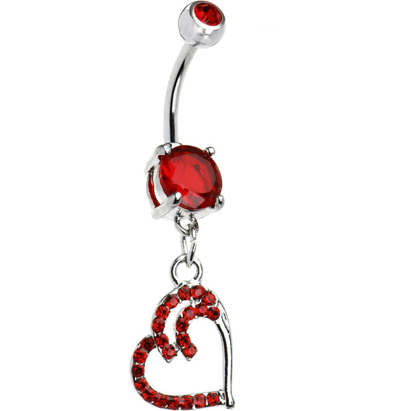 Red Cubic Zirconia Twinkle Heart Belly Ring