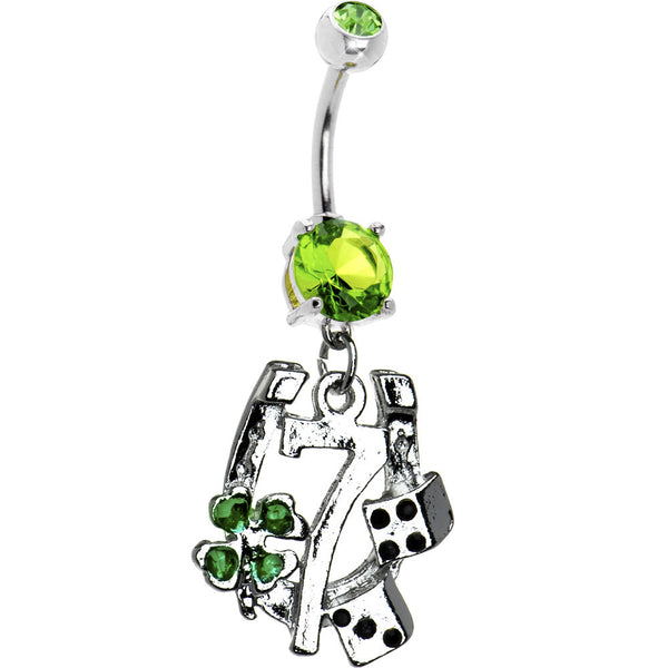 Peridot Green Cubic Zirconia Lucky 7 Belly Ring