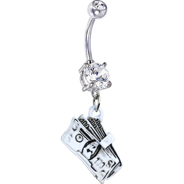 Clear Cubic Zirconia Cash Money Belly Ring