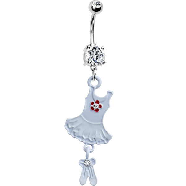 Clear Cubic Zirconia Tutu Ballerina Belly Ring