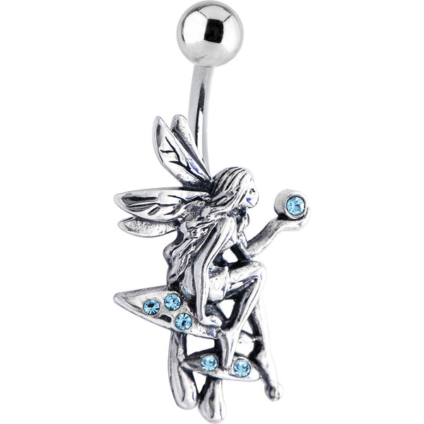 Sterling Silver 925 Aqua CZ Mythical Fairy Belly Ring