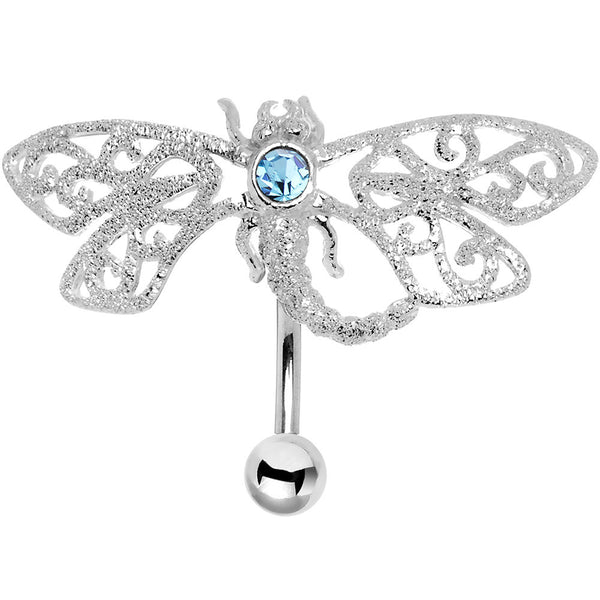 Sterling Silver 925 Aqua CZ Diamond Dust Dragonfly Belly Ring