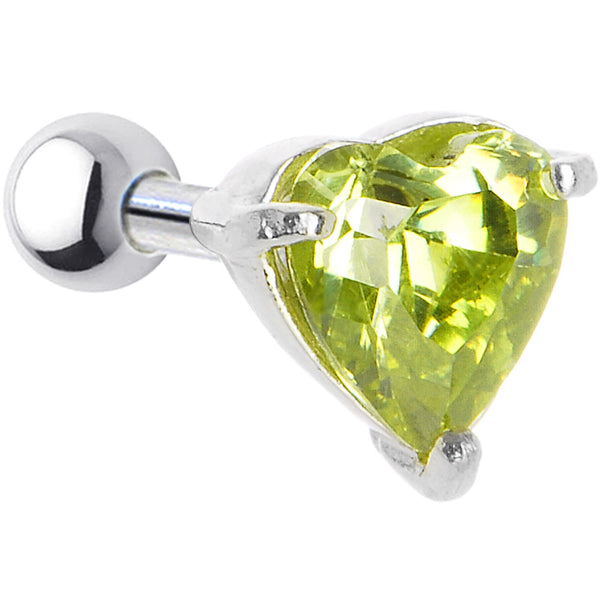 Sterling Silver 925 Peridot Cubic Zirconia HEART Cartilage Earring