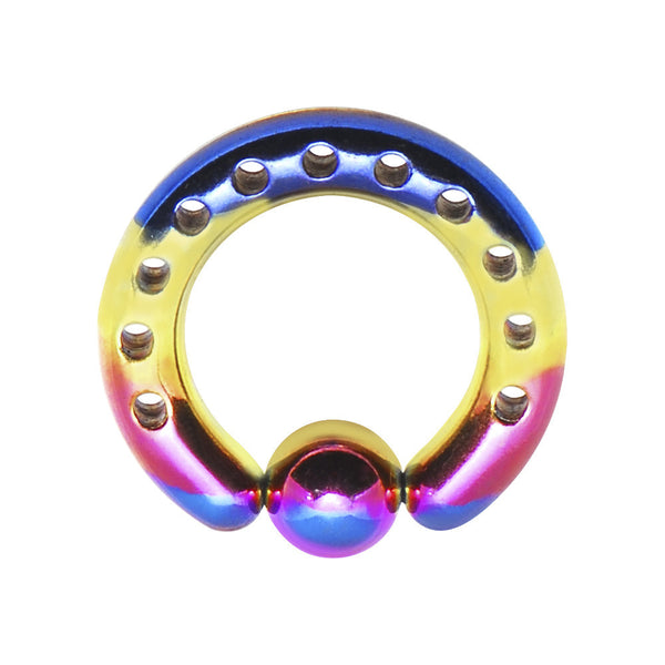 6 Gauge 1/2 Rainbow Titanium Industrial Punched BCR Captive Ring