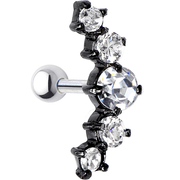 925 Silver Black Clear Cubic Zirconia Left Cartilage Earring