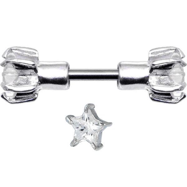 Sterling Silver 925 Clear Cubic Zirconia Star Cartilage Earring Stud