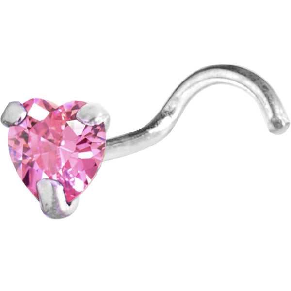 Sterling Silver 925 Pink CZ Heart Nose Ring