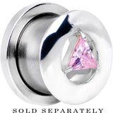 1/2 Pink Diamond Shaped Cubic Zirconia Threaded Tunnel