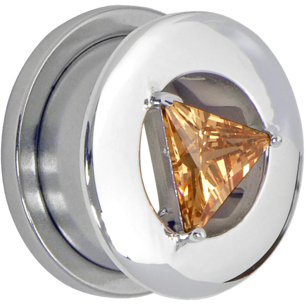 5/8 Champagne Diamond Shaped Cubic Zirconia Threaded Tunnel