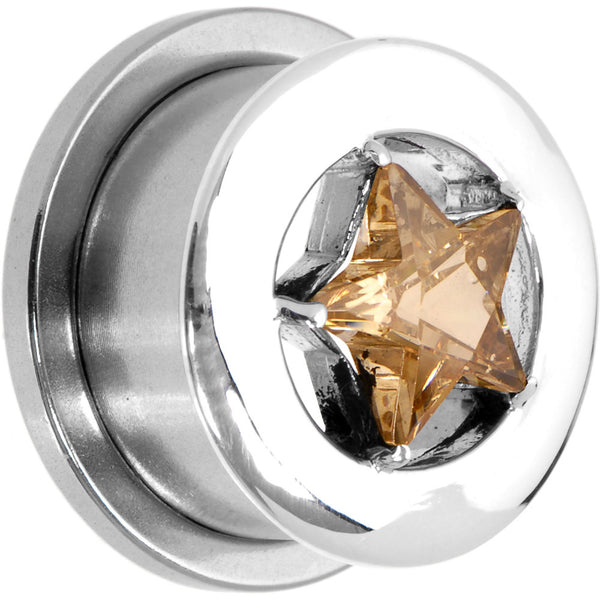 9/16 Champagne Cubic Zirconia Star Threaded Tunnel
