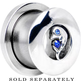 1/2 Sapphire Blue Cubic Zirconia Dolphin Threaded Tunnel