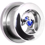 5/8 Sapphire Blue Cubic Zirconia Dolphin Threaded Tunnel