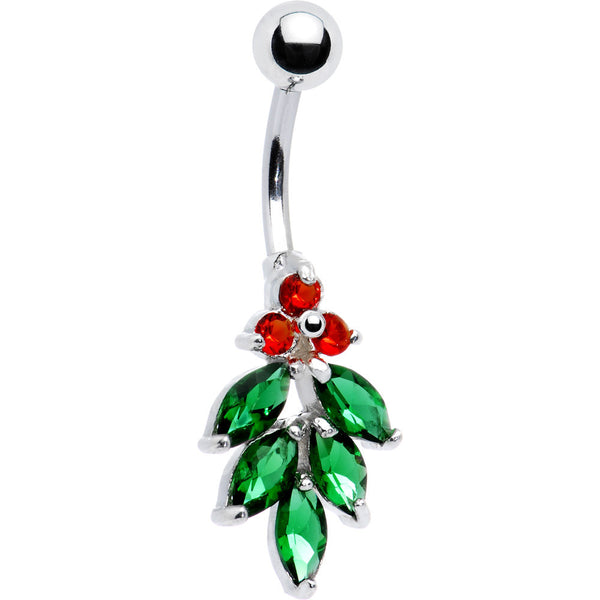 Sterling Silver 925 Cubic Zirconia Holly Berry Belly Ring