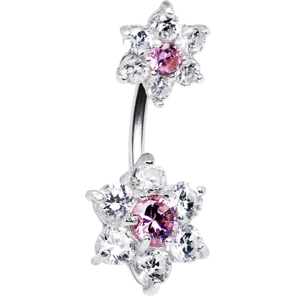 Sterling Silver 925 Clear Pink Cubic Zirconia Dual Flower Belly Ring