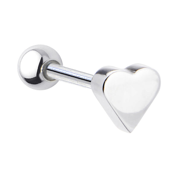 Stainless Steel Heart Barbell Tongue Ring
