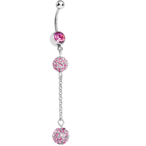 Pink Gem Dazzling Drop Belly Ring