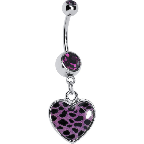 Purple Leopard Print Heart Dangle Belly Ring