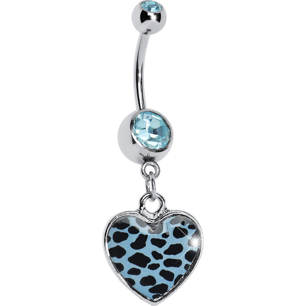 Blue Leopard Print Heart Dangle Belly Ring