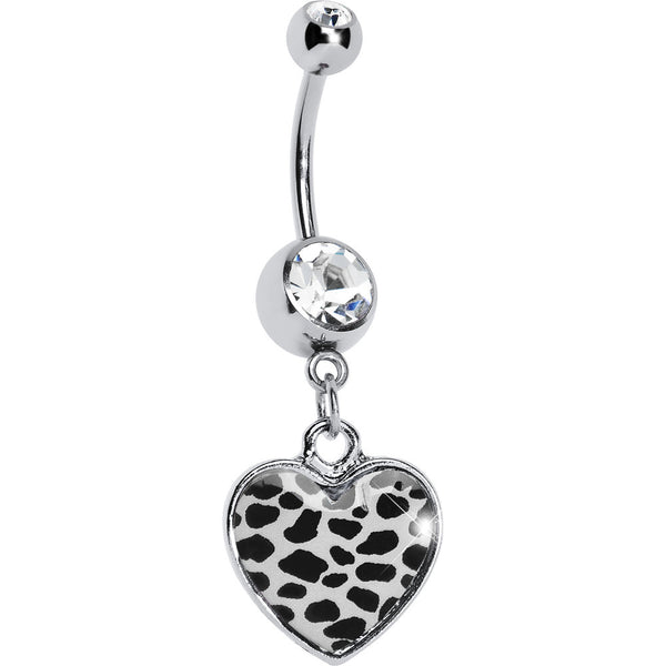 White Leopard Print Heart Dangle Belly Ring