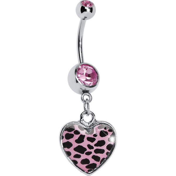 Pink Leopard Print Heart Dangle Belly Ring