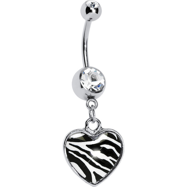 Zebra Print Heart Dangle Belly Ring
