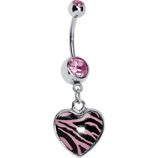 Pink Zebra Print Heart Dangle Belly Ring