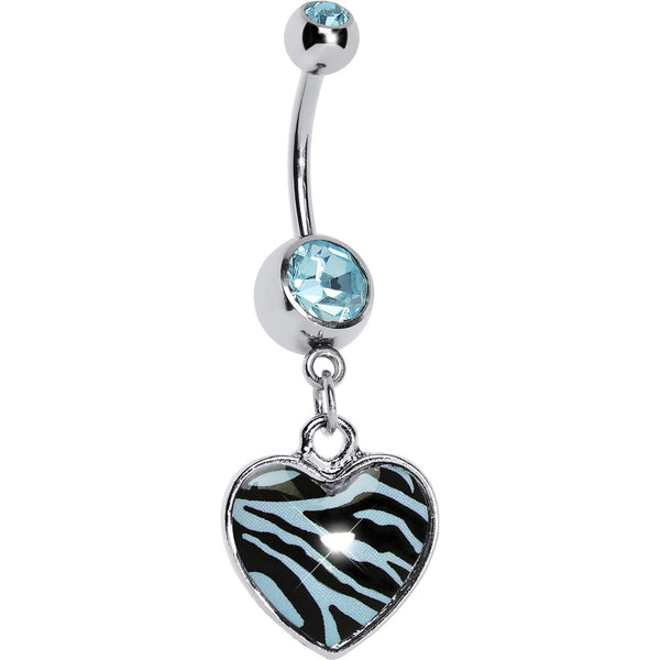 Blue Zebra Print Heart Dangle Belly Ring